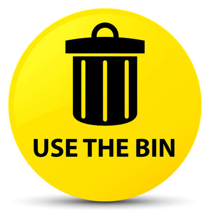 Use the bin (trash icon) isolated on yellow round button abstract illustration Stock Photo