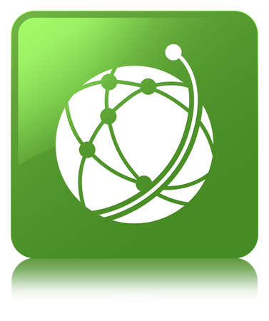 Global network icon isolated on soft green square button reflected abstract illustration