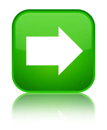 Next arrow icon isolated on special green square button reflected abstract illustration