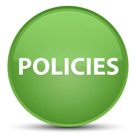 Policies isolated on special soft green round button abstract illustration Banco de Imagens