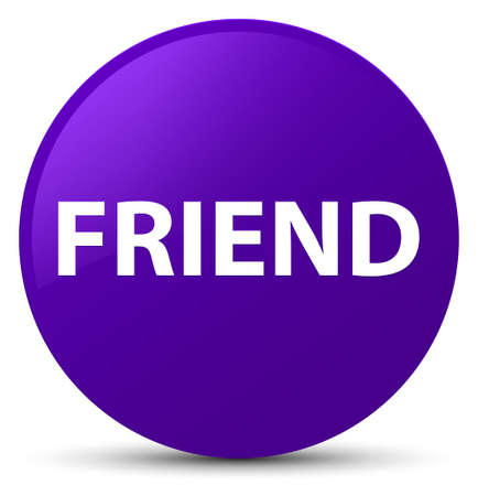 Friend isolated on purple round button abstract illustration Stock Photo