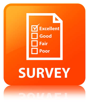 Survey (questionnaire icon) isolated on orange square button reflected abstract illustration