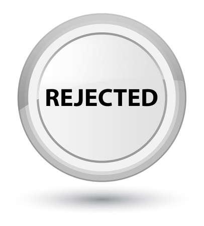 プライムホワイトラウンドボタンの抽象的なイラストで孤立した拒否