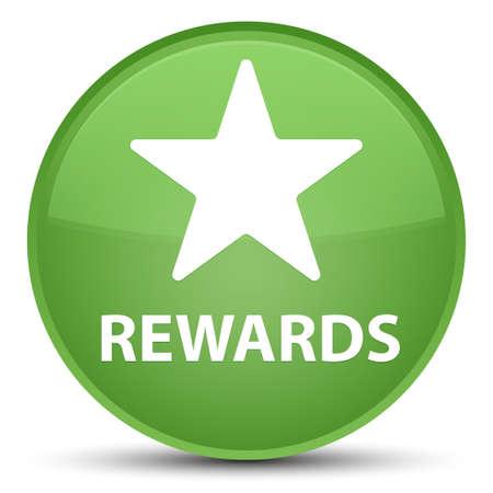 Recompensas (icono de la estrella) aislado en la ilustración abstracta del botón redondo verde suave especial Foto de archivo