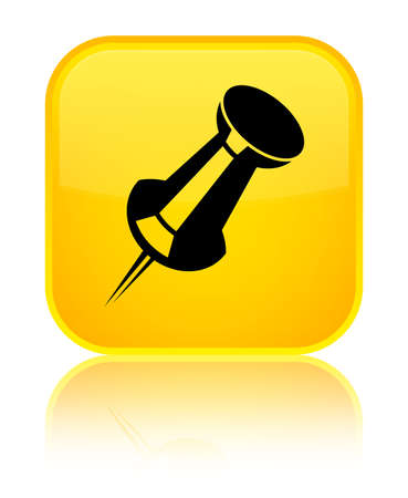 Push pin icon isolated on special yellow square button reflected abstract illustration Stock Photo