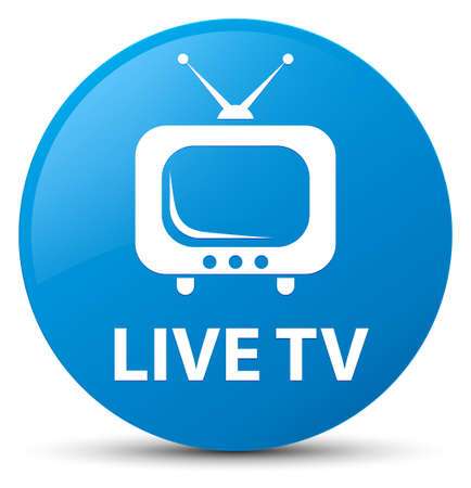 Live tv isolated on cyan blue round button abstract illustration Stock Photo