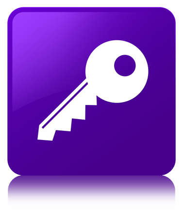 Key icon isolated on purple square button reflected abstract illustration Stock Photo