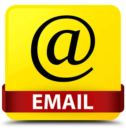 Email (address icon) isolated on yellow square button with red ribbon in middle abstract illustration Stock Photo