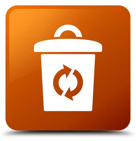 Trash icon isolated on brown square button abstract illustration