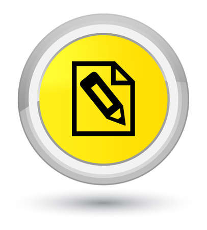 Pencil in page icon isolated on prime yellow round button abstract illustration