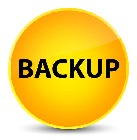 Backup isolated on elegant yellow round button abstract illustration Stock Photo