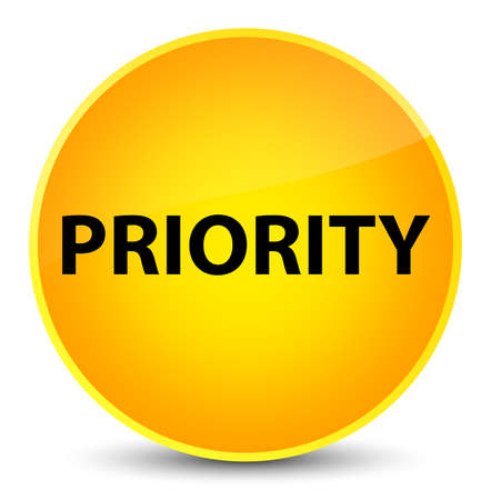 Priority isolated on elegant yellow round button abstract illustration
