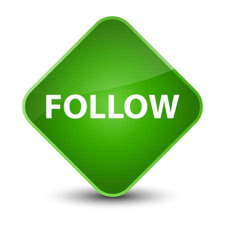 Follow isolated on elegant green diamond button abstract illustration Stock Photo