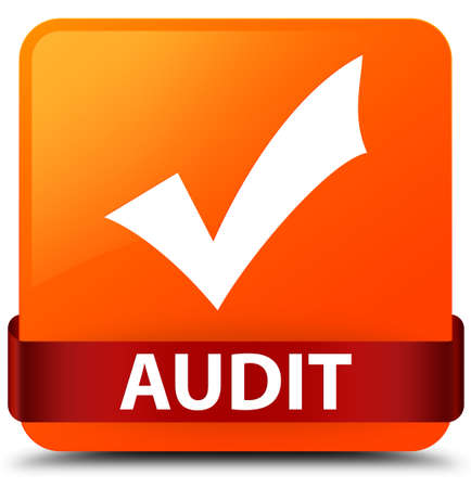 Audit (validate icon) isolated on orange square button with red ribbon in middle abstract illustration