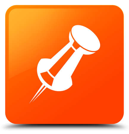 Push pin icon isolated on orange square button abstract illustration Banque d'images
