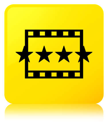 Movie reviews icon isolated on yellow square button reflected abstract illustration