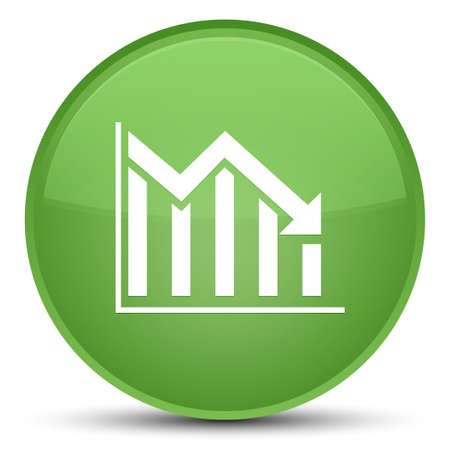 Statistics down icon isolated on special soft green round button abstract illustration