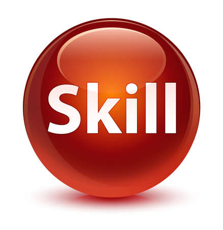 Skill isolated on glassy brown round button abstract illustration