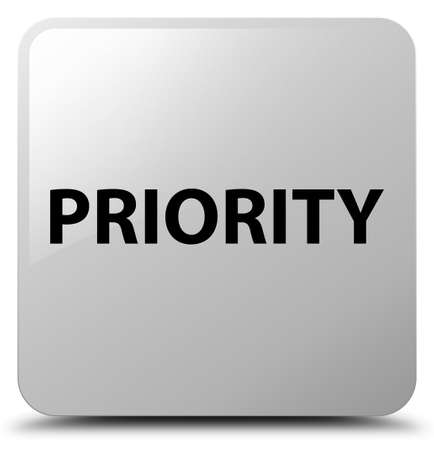 Priority isolated on white square button abstract illustration