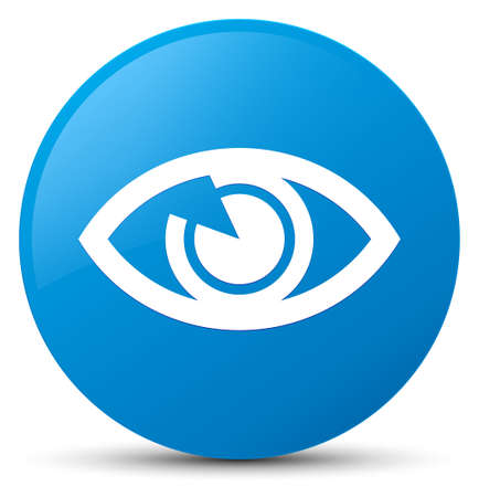 sight: Eye icon isolated on cyan blue round button abstract illustration