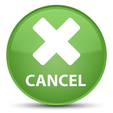Cancel isolated on special soft green round button abstract illustration