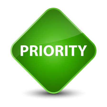 Priority isolated on elegant green diamond button abstract illustration