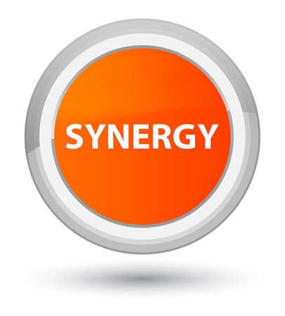 Synergie op eerste oranje ronde knoop abstracte illustratie die wordt geïsoleerd Stockfoto