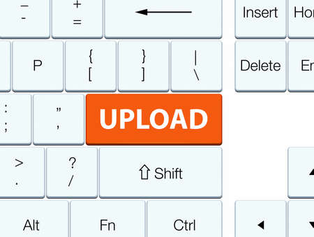 Upload isolated on orange keyboard button abstract illustration Stock Photo