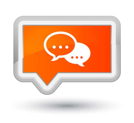 Talk bubble icon isolated on prime orange banner button abstract illustration