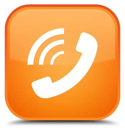 特別なオレンジ色の四角ボタンの抽象イラストに孤立した電話鳴っているアイコン 写真素材