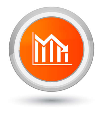Statistics down icon isolated on prime orange round button abstract illustration Reklamní fotografie