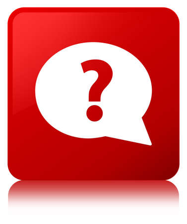 Question mark bubble icon isolated on red square button reflected abstract illustration