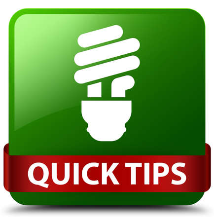 Quick tips (bulb icon) isolated on green square button with red ribbon in middle abstract illustration Stock Photo