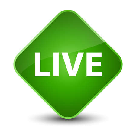 Live isolated on elegant green diamond button abstract illustration