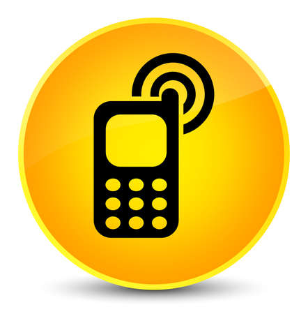 Cellphone ringing icon isolated on elegant yellow round button abstract illustration Stock Photo