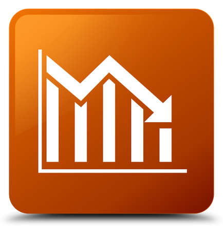 Statistics down icon isolated on brown square button abstract illustration