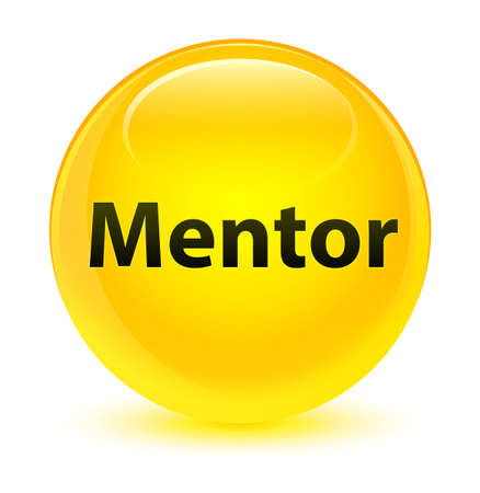Mentor isolated on glassy yellow round button abstract illustration