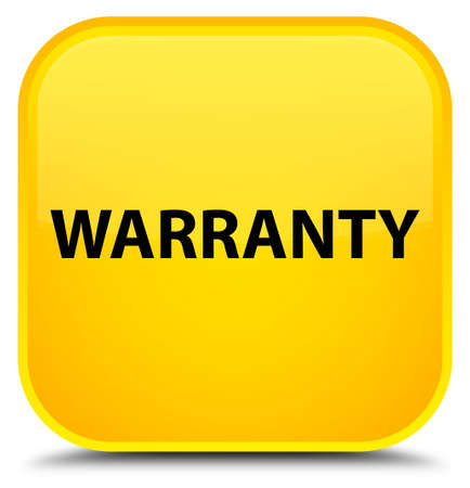 Warranty isolated on special yellow square button abstract illustration