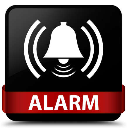 Alarm (bell icon) isolated on black square button with red ribbon in middle abstract illustration