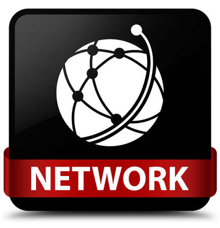 Network (global network icon) isolated on black square button with red ribbon in middle abstract illustration