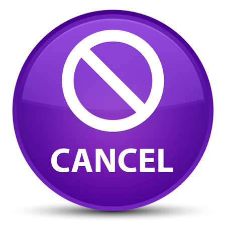 Cancel (prohibition sign icon) isolated on special purple round button abstract illustration