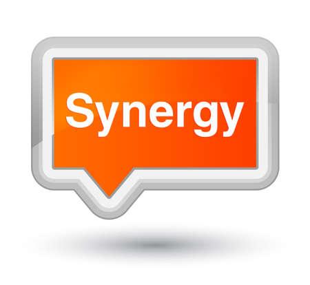 Synergie op de eerste abstracte illustratie die van de oranje bannerknoop wordt geïsoleerd