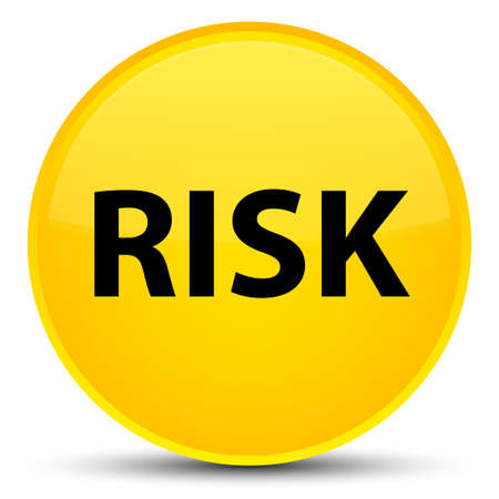 Risk isolated on special yellow round button abstract illustration Stock Photo