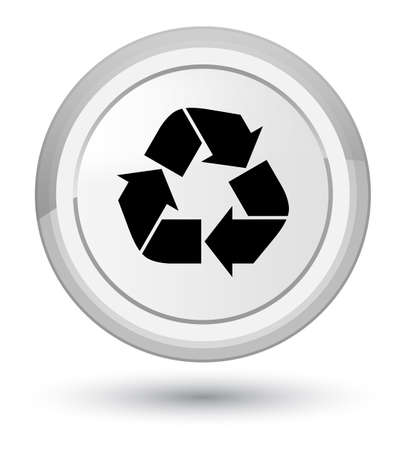 Recycle icon isolated on prime white round button abstract illustration Stock Photo