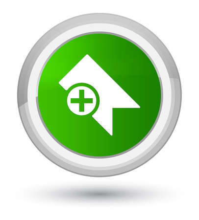 Bookmark icon isolated on prime green round button abstract illustration