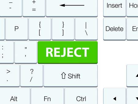 ソフトグリーンのキーボードボタンの抽象的なイラストに孤立を拒否