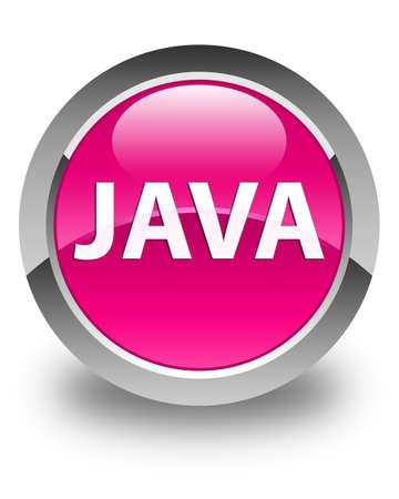光沢のあるピンクの丸いボタンの抽象的なイラストに分離された Java 写真素材