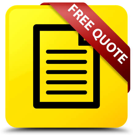 Free quote (page icon) isolated on yellow square button with red ribbon in corner abstract illustration