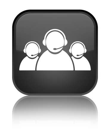 representative: Customer care team icon isolated on special black square button reflected abstract illustration