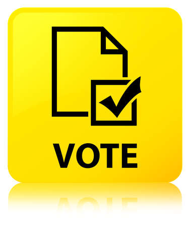 Vote (survey icon) isolated on yellow square button reflected abstract illustration Stock Photo